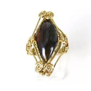 Vintage Gold Filled Wire Tigers Eye Ladies Ring